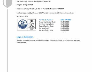 Tungate Group ISO 14001-1