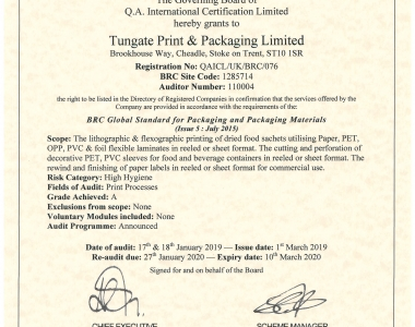 Tungate Print & Packaging Limited BRC